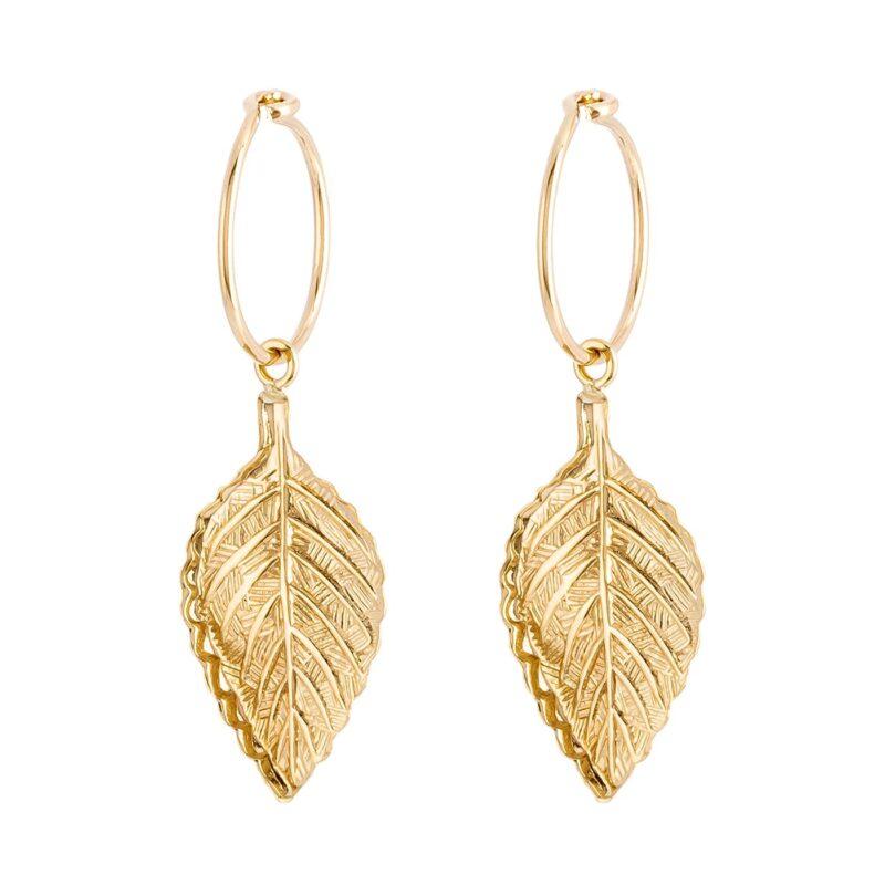 Earring-gold-hoop-leaf-byou-jewelry-1-min