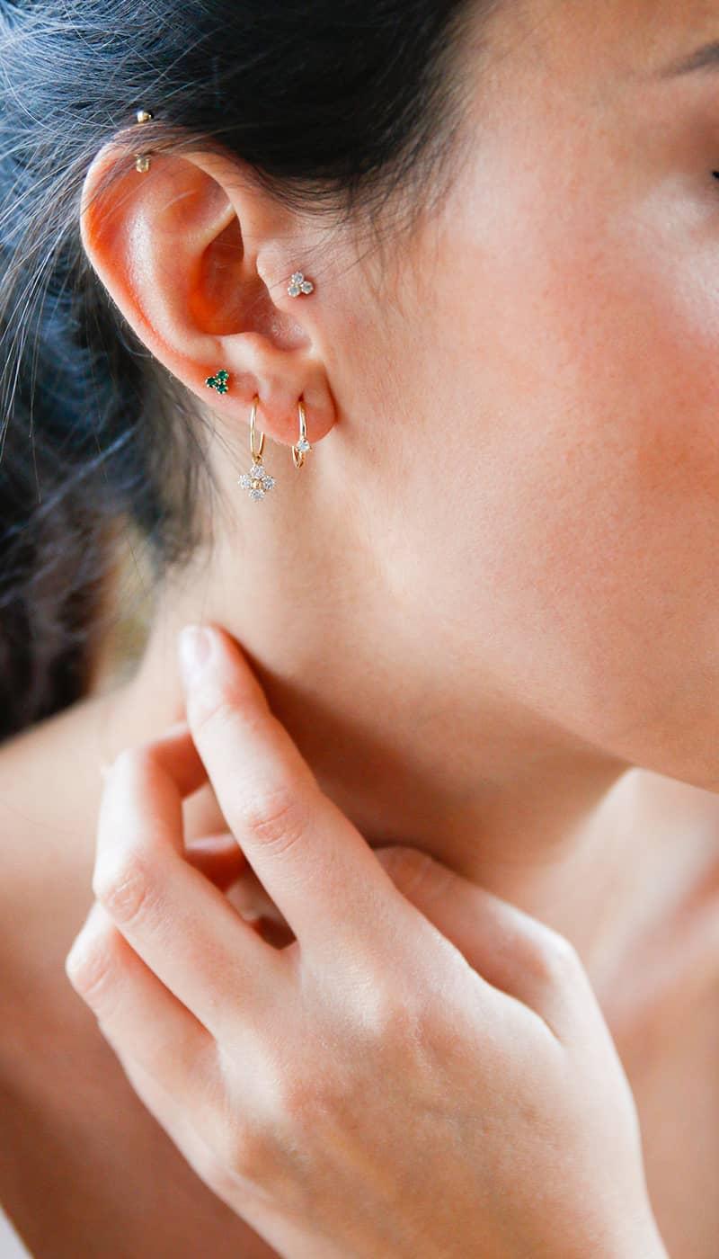 Piercing-Clover-Zirconia-Gold-9K-Byou-Jewelry