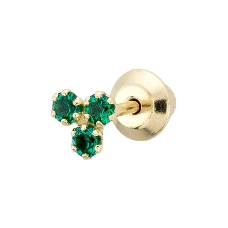 Piercing-Trebol-Circonitas-Esmeralda-B.You-Jewelry