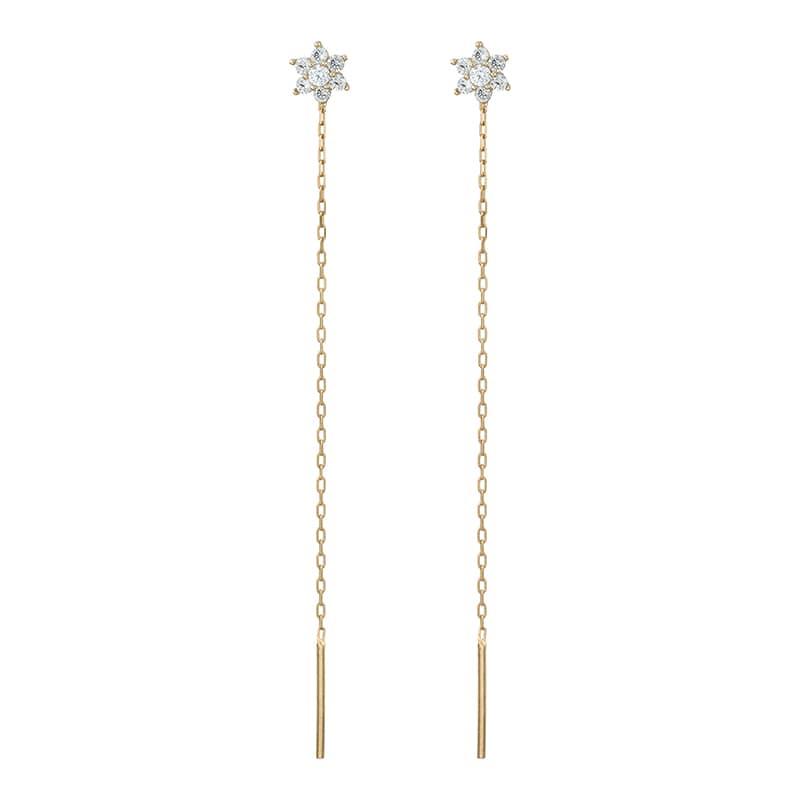 Pendientes-Flor-de-Circonitas-con-cadena-Oro-9k-Byou-Jewelry